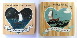 LOVE these beautiful hand painted wooden blocks by illustrator, Marisa Girardi. Available @ Abode | via http://www.abodecapetown.blogspot.com/