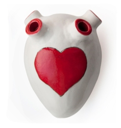 Decorative handmade human heart-shaped ceramic artwork, with vibrant red heart by Lesley Tuchten as My Superior Atrium. So quirky and unique! Available @ Meekel.co.za | via http://www.meekel.co.za/art-piece/red-heart