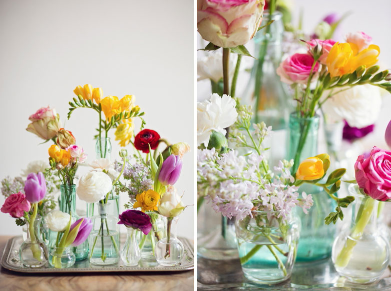 A little out of the box thinking - why not get your mum a collection of flowers in different pretty containers instead of the predictable bouquet? | via http://peachesandmint.com/blog/floral-spring-greetings/
