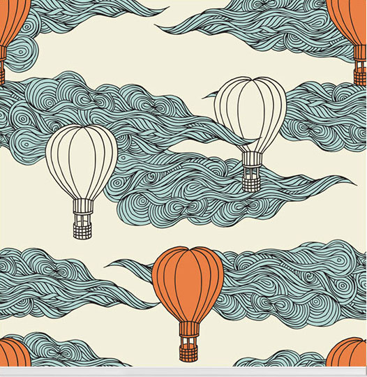 """Hope Floats"" retro hot air balloon wallpaper designed by aLoveSupreme available through Robin Sprong 