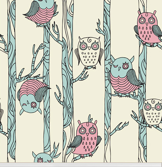"""It's A Hoot"" owl wallpaper designed by aLoveSupreme available through Robin Sprong 