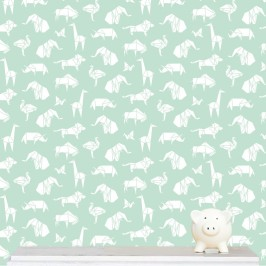 """Origami Animals"" wallpaper designed by Kristen Morkel available through Design Kist 