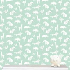 """Origami Animals"" wallpaper designed by Kristen Morkel available through Design Kist | via http://www.designkist.com/kids/864-origami-animals-wallpaper.html"