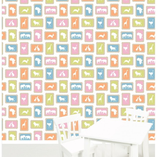 """Zoo Koekie"" Wallpaper designed by Kristen Morkel available through Design Kist | via http://www.designkist.com/kids/789-zoo-biscuits.html"