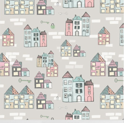 """""""Home Sweet Home"""" wallpaper designed by Nicole Long available through Robin Sprong 