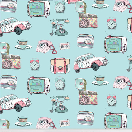 """""""Vintage Vibes"""" wallpaper designed by Nicole Long available through Robin Sprong 