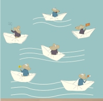 """Mice In Boats"" wallpaper designed by Sandy Mitchell available through Robin Sprong 