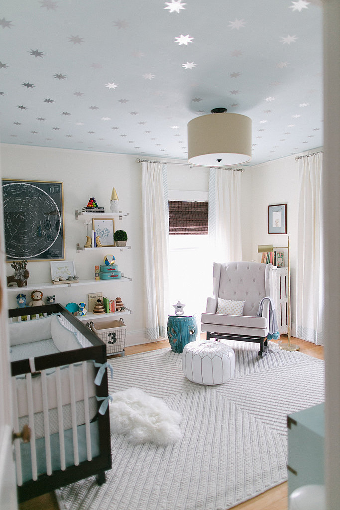 A patterned or painted ceiling would be a welcome unexpected idea if your  nursery has a
