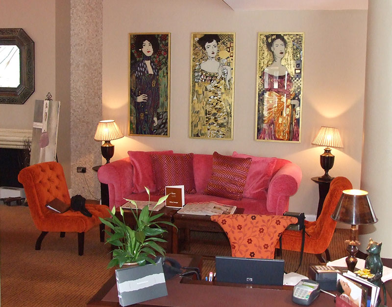 The three Klimt-inspired ladies we had commissioned by our glass artist for an Irish boutique hotel.