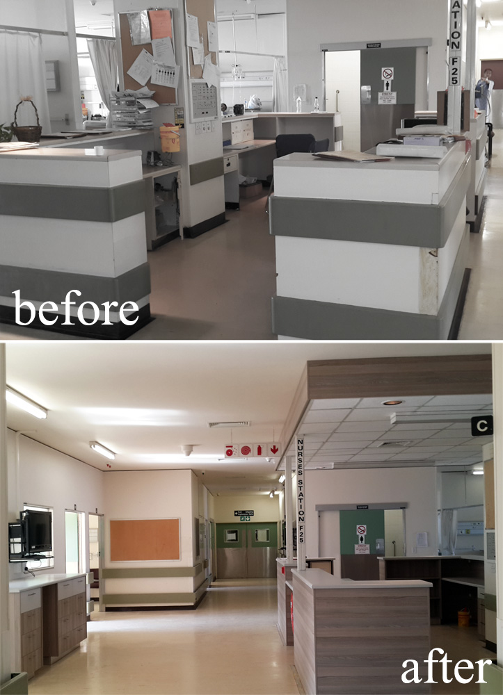 The Groote Schuur Acute Surgery Unit nurses' station had seen many years worth of wear & tear - but now the Ward boasts with a sleek new nurses' station courtesy of Easylife Kitchens and PG Bison.