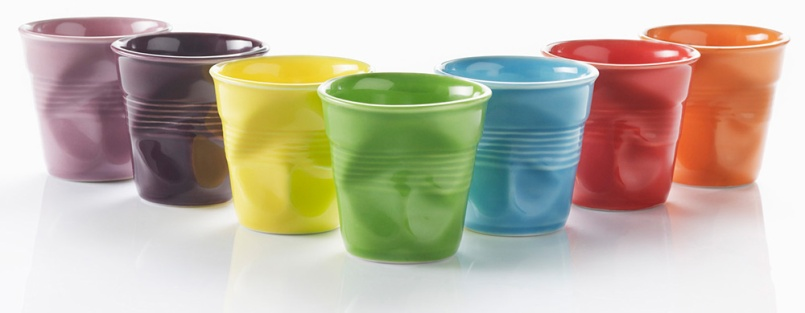 These quirky and colourful glazed porcelain espresso Crush Cups from Revol are designed to look just like disposable paper cups. Use them to serve tapas, olives, dip, and condiments. They are the perfect vehicle for sauce with your steak, or a tiny dessert. They even take an espresso beautifully. They are priced at R150.00 each and available through Yuppiechef. | via http://www.yuppiechef.com/revol-crush.htm?id=7112&name=Revol-Espresso-Crush-Cup-Single