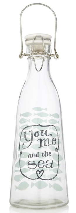 """Check out this adorable """"You, Me And The Sea"""" glass water bottle - just the thing you need for that Spring time picnic! Available through Spree at only R129.00 each! I'll have two thanks! 