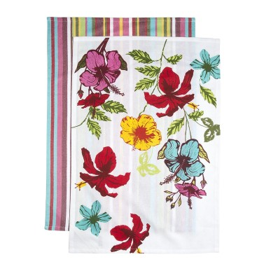 Add happy pops of tropical inspired colour to your kitchen this Spring with these pure cotton tea towels from Woolworths. The 2-pack includes one tea towel with large blooms and one with stripes - R79.95 per set. | via http://www.woolworths.co.za/store/fragments/product-details/product-details-index.jsp?productId=502557240