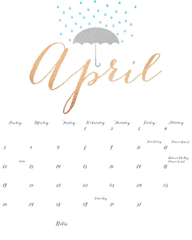 april 2016 calendar printable template .