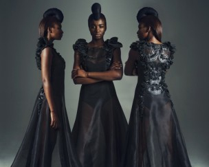 """Silk Organza and Leather Floral Dress by ERRE 