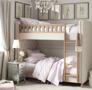 Bunk bed with tuffed upholstered headboard for princess little girl room
