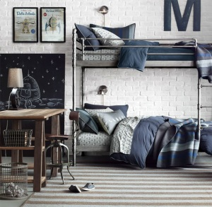 Industrial pipe bunk bed for boys room