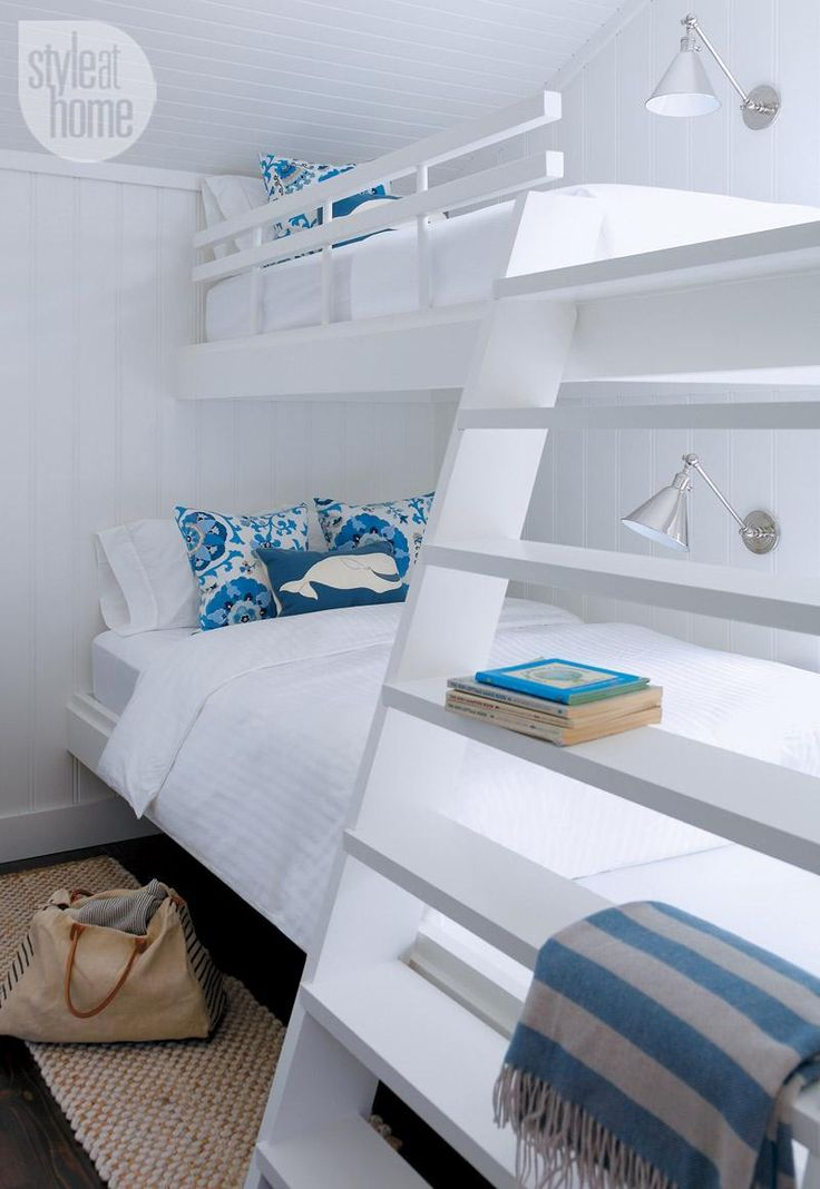 white beach house bunk bed