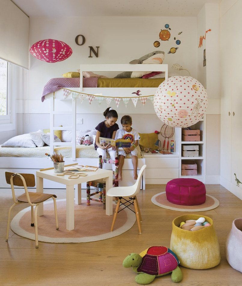 Kids bedroom and playroom with bunk bed for girls