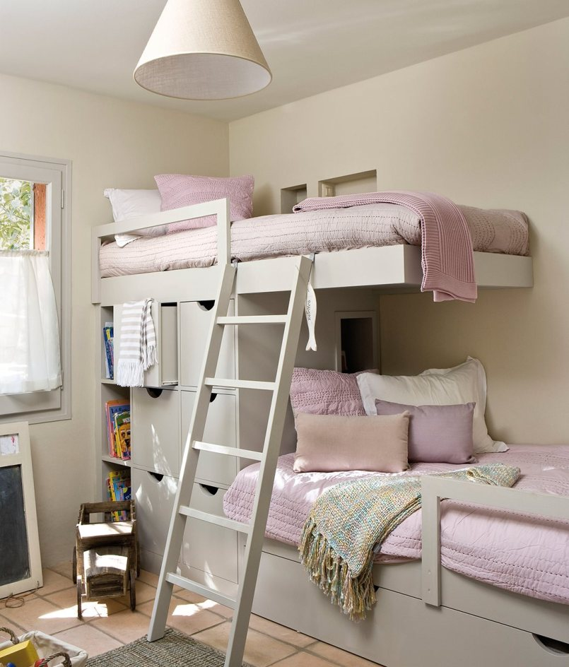 Pink bunk bed room with storage for teen girls