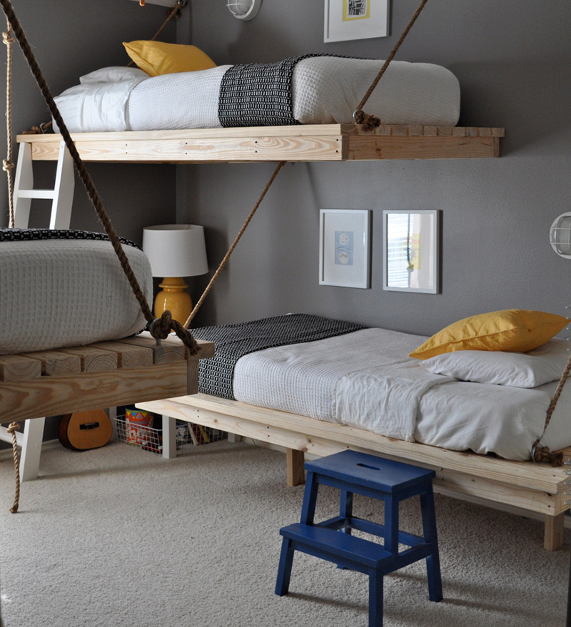 Awesome suspended rope bunk beds