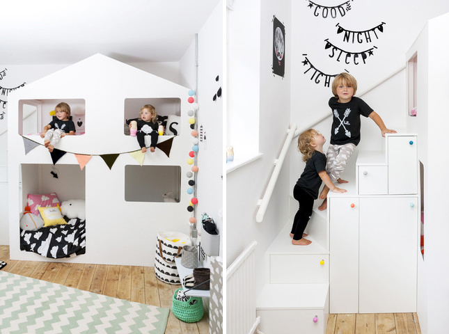 House bunk bed in kids room with storage drawer steps