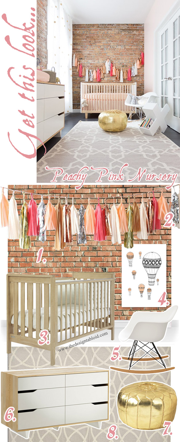Get The Decor Look: Peachy Pink Nursery with exposed brick wall & tassel garland | via The Design Tabloid