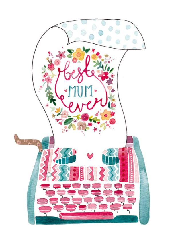 Best Mum Ever Mother's Day Typewriter Illustration