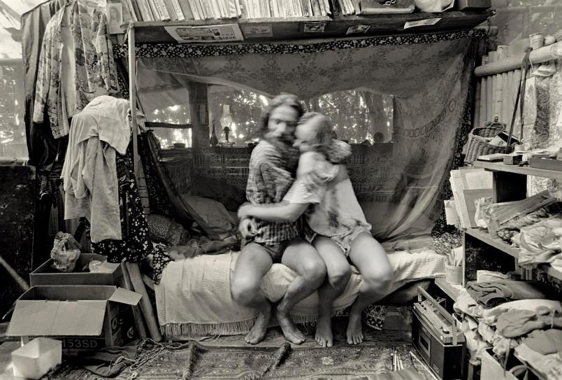 A Bohemian hippie couple at home. Photo taken at Taylor Camp, a late 60s hippie commune, located in Kauai, Hawaii.