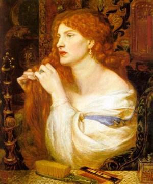 Fazio's Mistress painted by Pre-Rapaelite artist Dante Gabriel Rossetti in 1863.