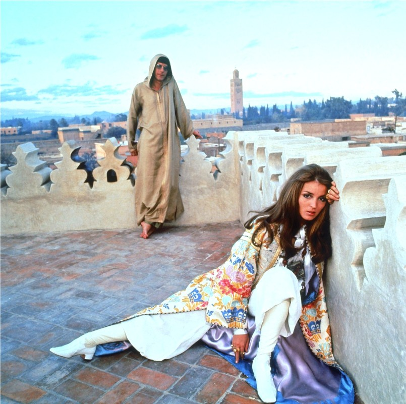 Talitha Getty, the patron saint of Bohemian Chic, here famously photographed with her husband in Marrakesh, Morocco in 1969.