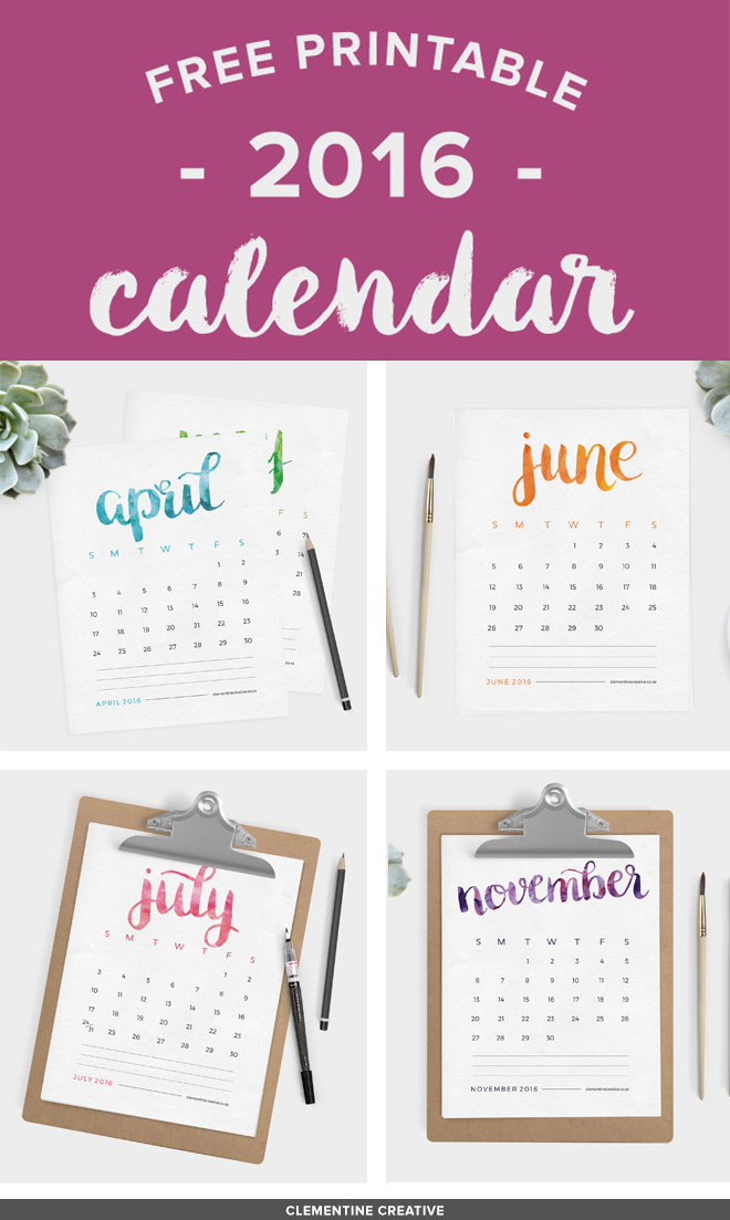 To DOWNLOAD this calendar please go to: this http://www.clementinecreative.co.za/free-printable-2016-calendar-brush-lettered/