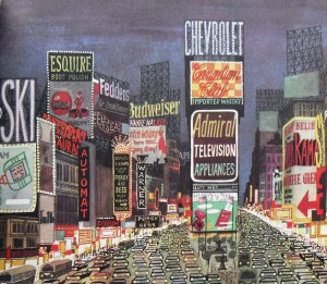 A 1950s illustration of Time Square by Miroslav Sasek
