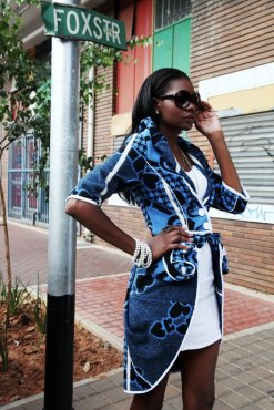 Basotho Blanket Classic Starburst Coat by Thabo Makhetha. The Starburst jacket is a classic piece from Thabo Makhetha's range of garments inspired by the Basotho people. The Coat is a modern interpretation of this traditional South African culture. [To vote SMS MBOISA+STARBURST COAT to 40619 at a cost of R1.50 per SMS]