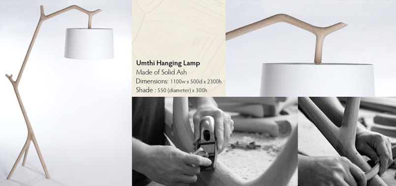 Umthi Hanging Lamp by Meyer Von Wielligh. The inspiration behind the lamp was to take processed wood back to its natural form and appreciate the material in light of its origin. The Umthi Hanging lamp was then designed to resemble the organic lines of tree branches. [To vote SMS MBOISA+UMTHI LAMP to 40619 at a cost of R1.50 per SMS]