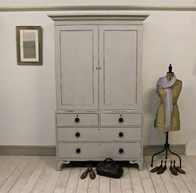 Painted antique linen press cabinet