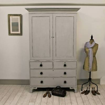 Painted antique linen press cabinet