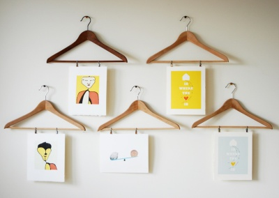 coat hanger art display