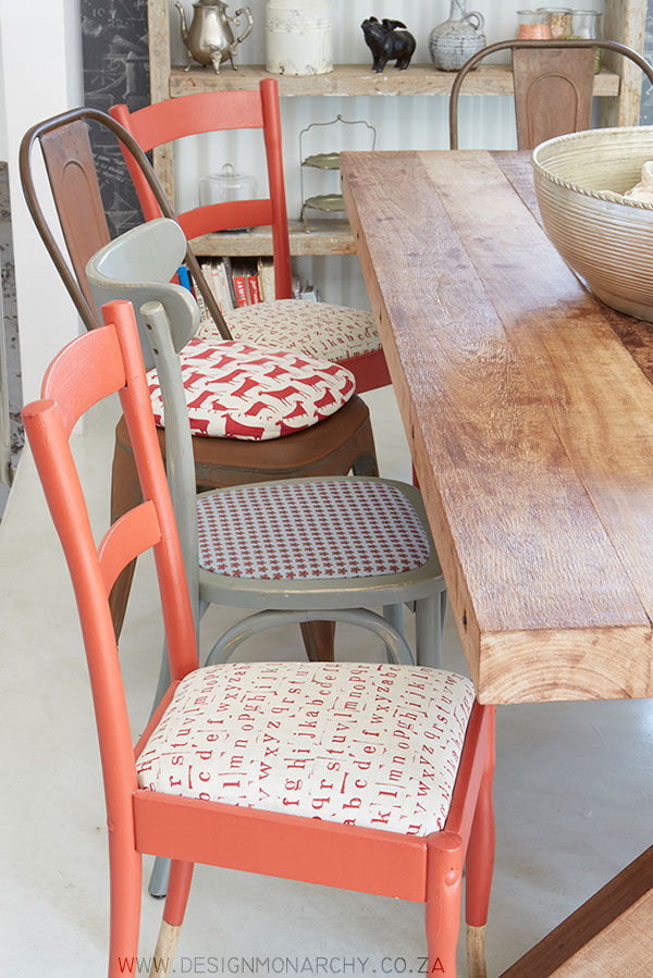 Quirky mismatched dining chairs