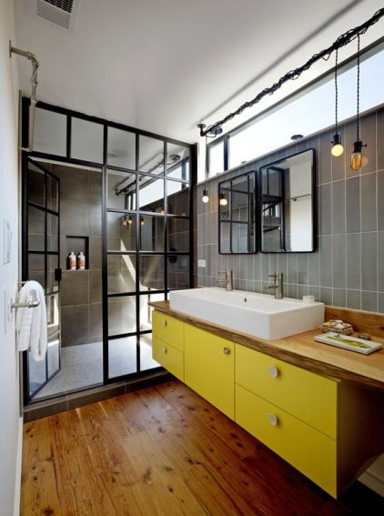 Factory Windows Bathroom | Decor Trend: Black Metal Accessories