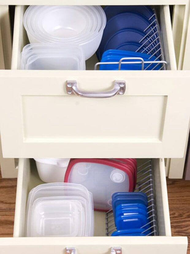 10 Hacks to Organise Your Kitchen: CD Rack Tupperware Organizer