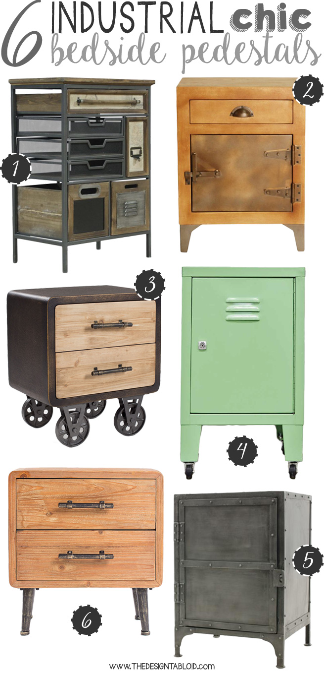 6 Industrial Chic Bedside Pedestals for Your Home | via The Design Tabloid