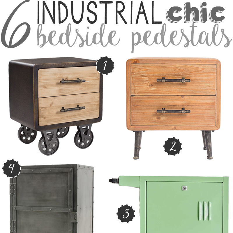 6 Industrial Chic Bedside Pedestals | via The Design Tabloid
