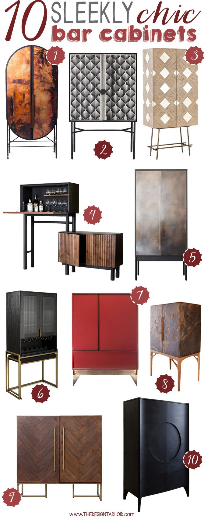 10 Sleek & Chic Bar Cabinets | via The Design Tabloid